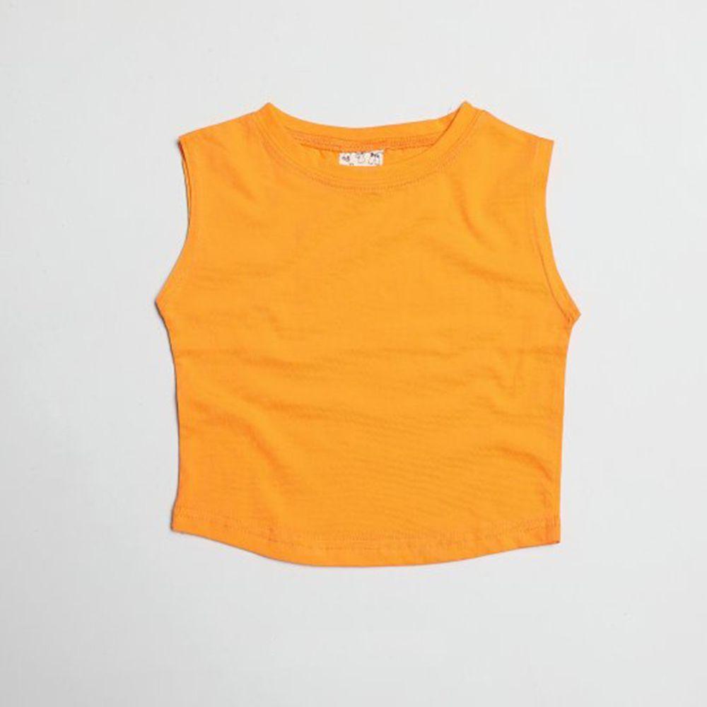 韓國製 - 水洗加工布純棉無袖T-橘