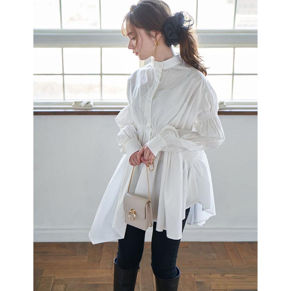 日本 GRL - 不規則長度衣襬抓皺設計長袖襯衫-白