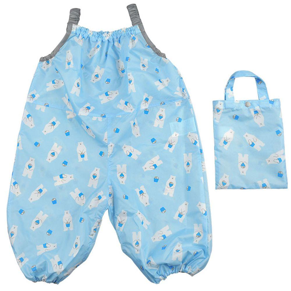 akachan honpo - 吊帶式連身防汙褲-白熊-淺藍色