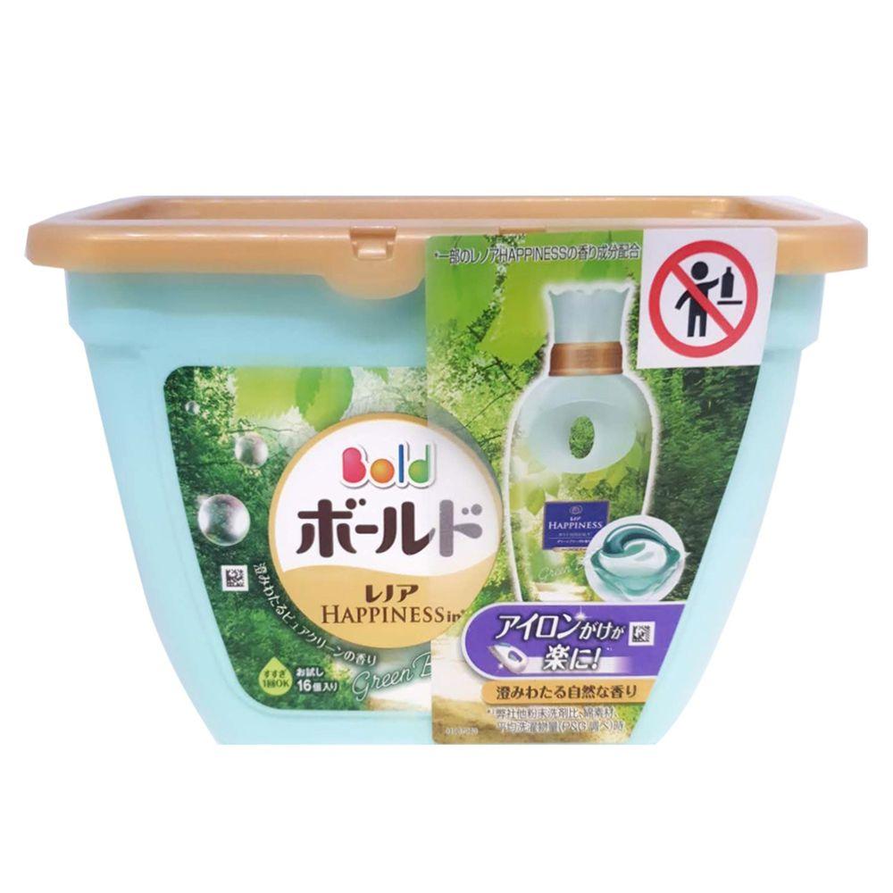 日本 P&G - 3D立體洗衣果凍膠囊盒裝-微風綠草香-16顆/308g
