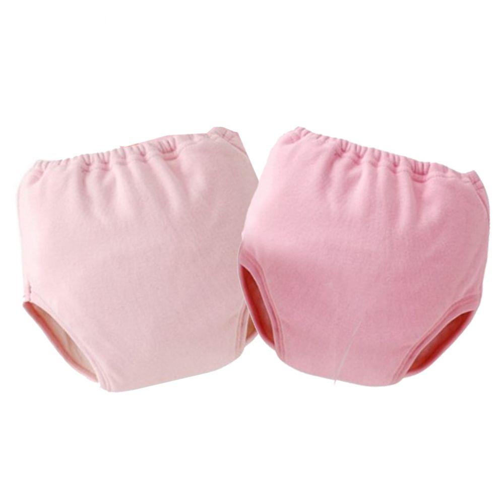 日本 Chuckle Baby - 四層學習褲(兩件組)-素色-粉-密縫式