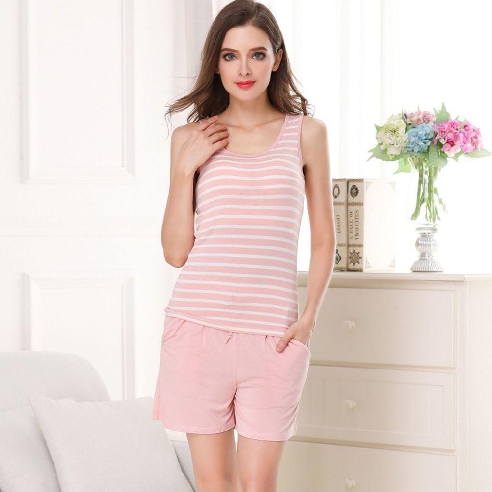 莫代爾柔軟涼感Bra T-背心款套裝-粉色條紋