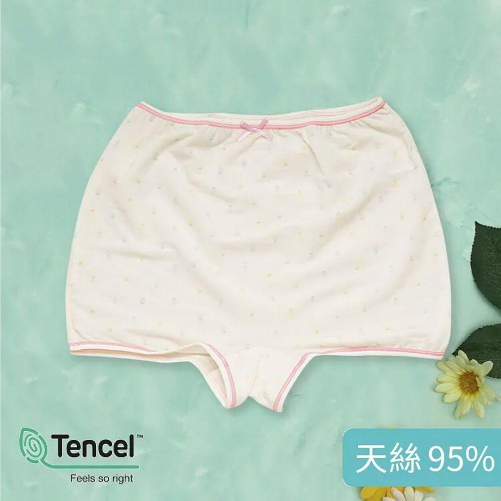 Annypepe - 女童95%天絲夢幻小花四角褲-淡黃色 (110-150cm)