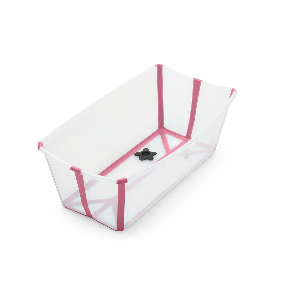 Stokke - Flexi Bath折疊式浴盆(感溫水塞)-透明粉