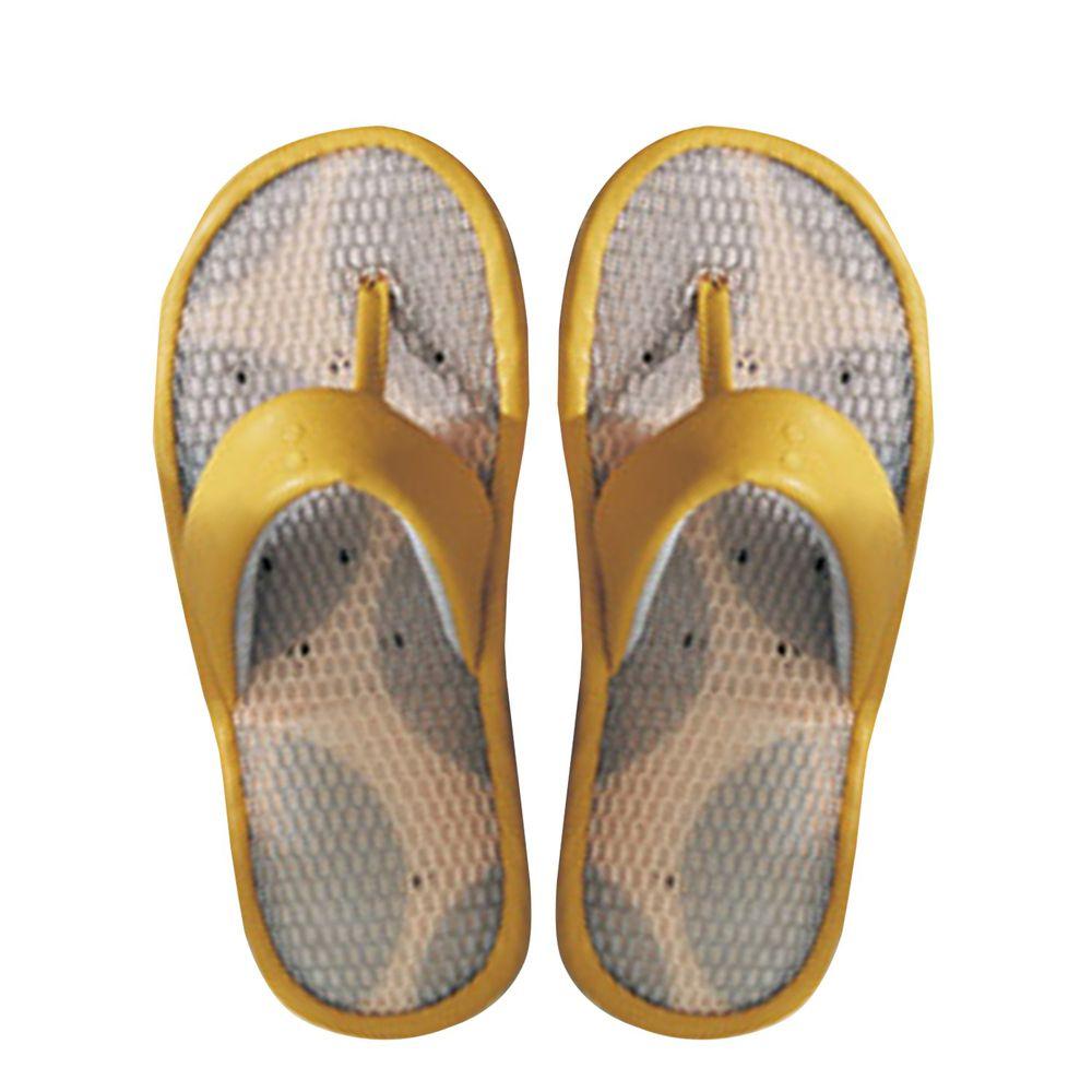日本千趣會 - 超輕量透氣皮質夾腳室內拖-黃