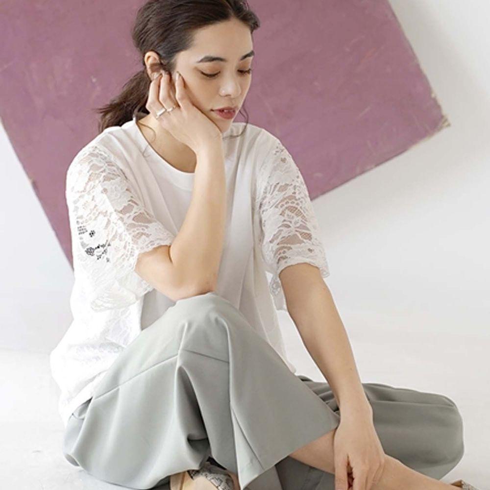 日本 zootie - 蕾絲雕花拼接五分袖上衣-白