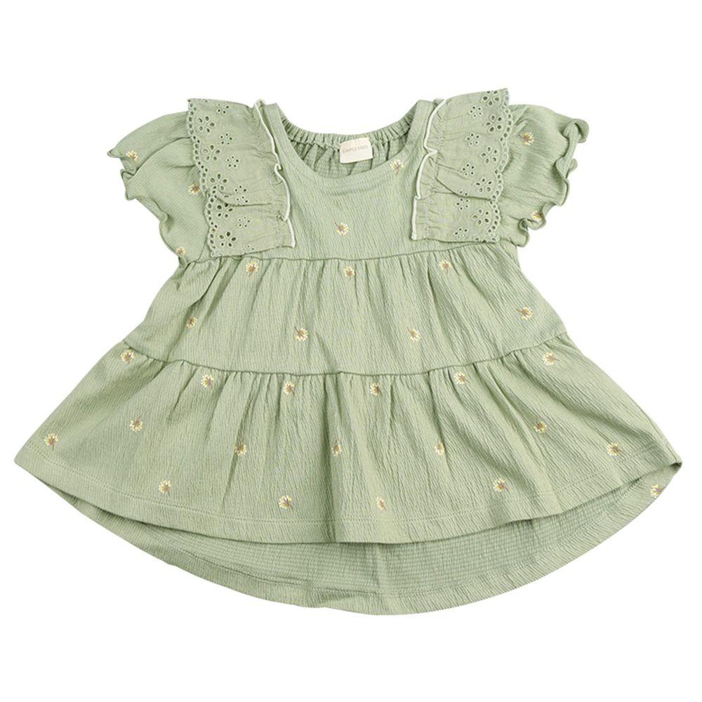 akachan honpo - 短袖T恤 楊柳布拼接-黃綠色
