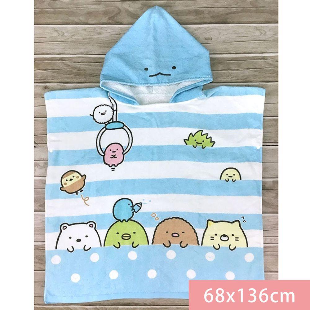 角落小夥伴 - 角落小夥伴連帽浴巾-夾娃娃-藍 (68*136cm)