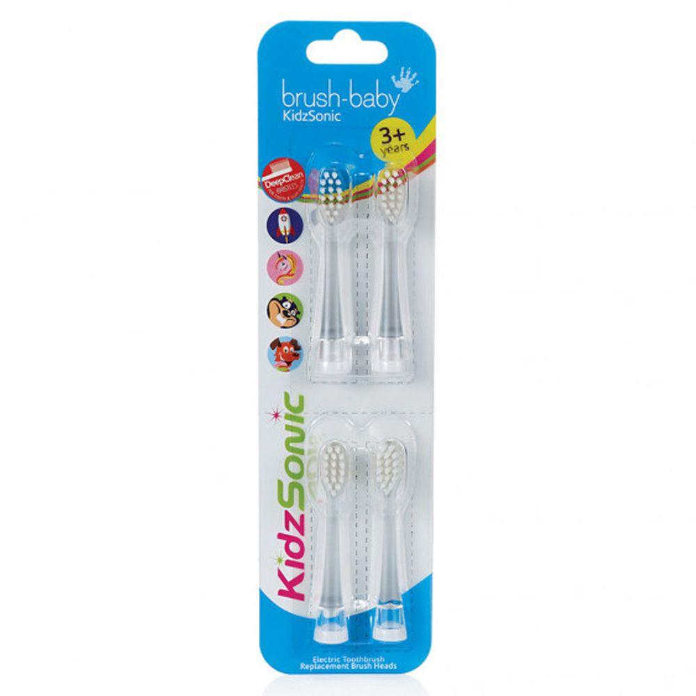 英國 brush-baby - 聲波電動牙刷替換刷頭4入-3-6歲用