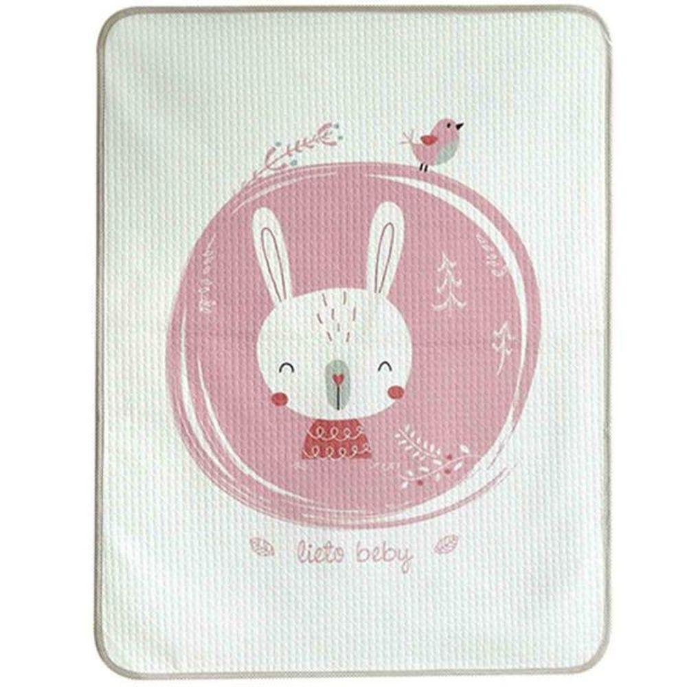 韓國 Lieto baby - 可愛動物無螢光棉防水墊-粉紅兔兔 (100*130cm)