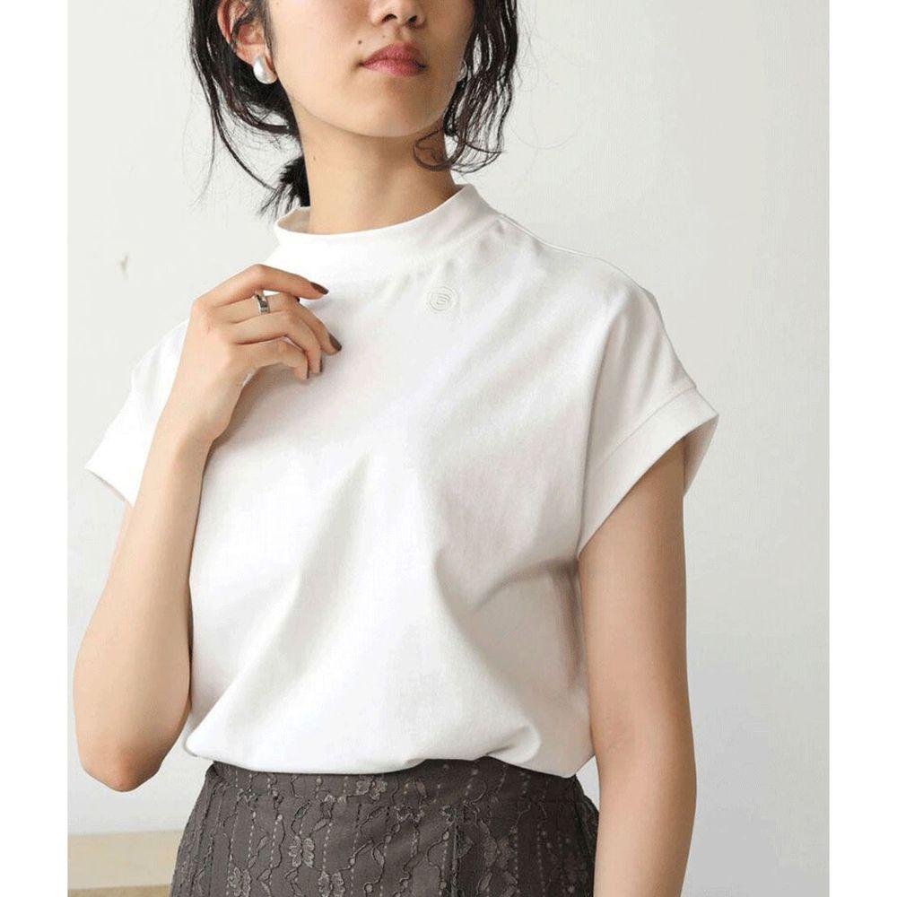 日本 Bou Jeloud - 美國棉修身顯瘦一分袖上衣-白