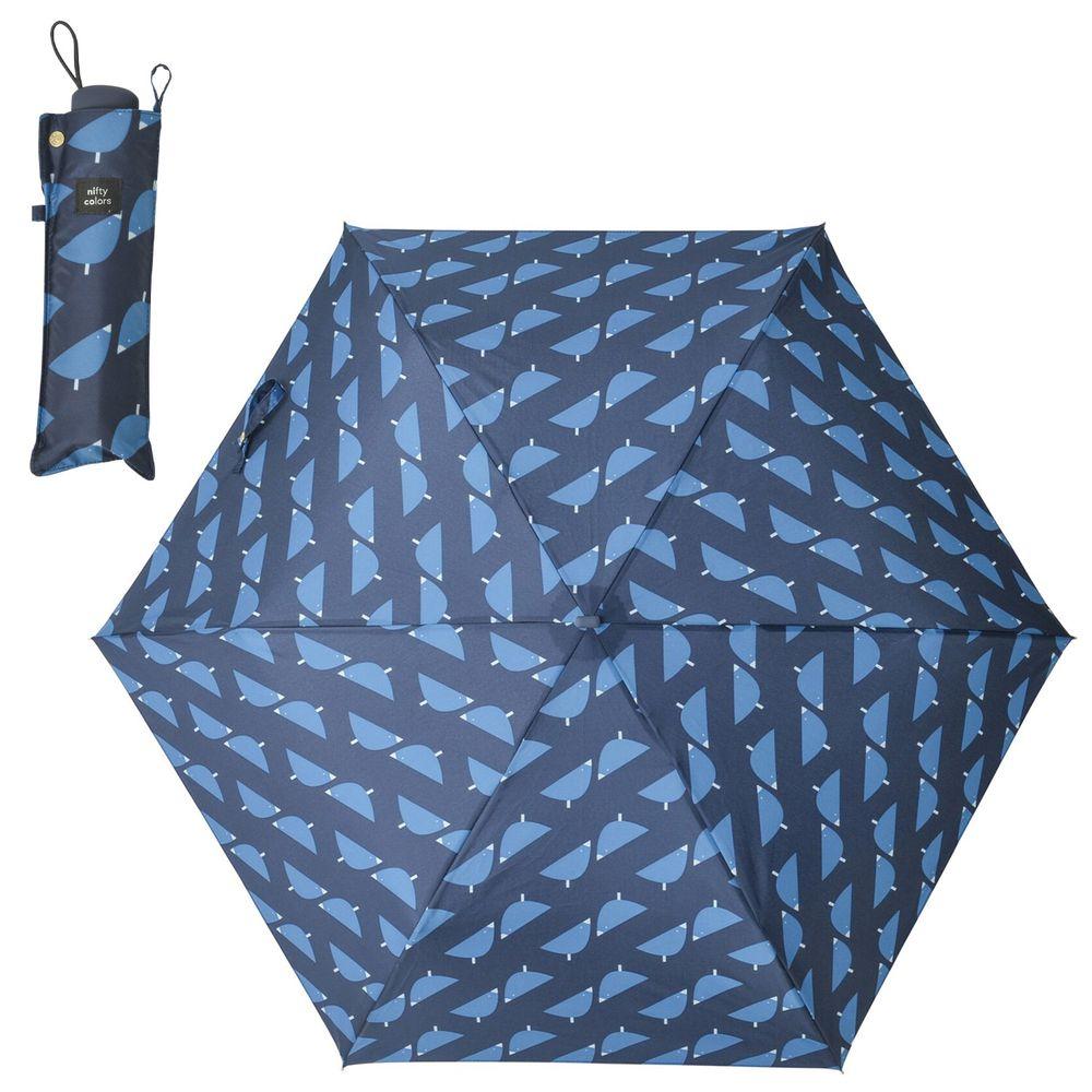 日本 nifty colors - 抗UV輕量 晴雨兩用折疊傘-幾何小鳥-深藍 (直徑98cm/196g)-90.0%