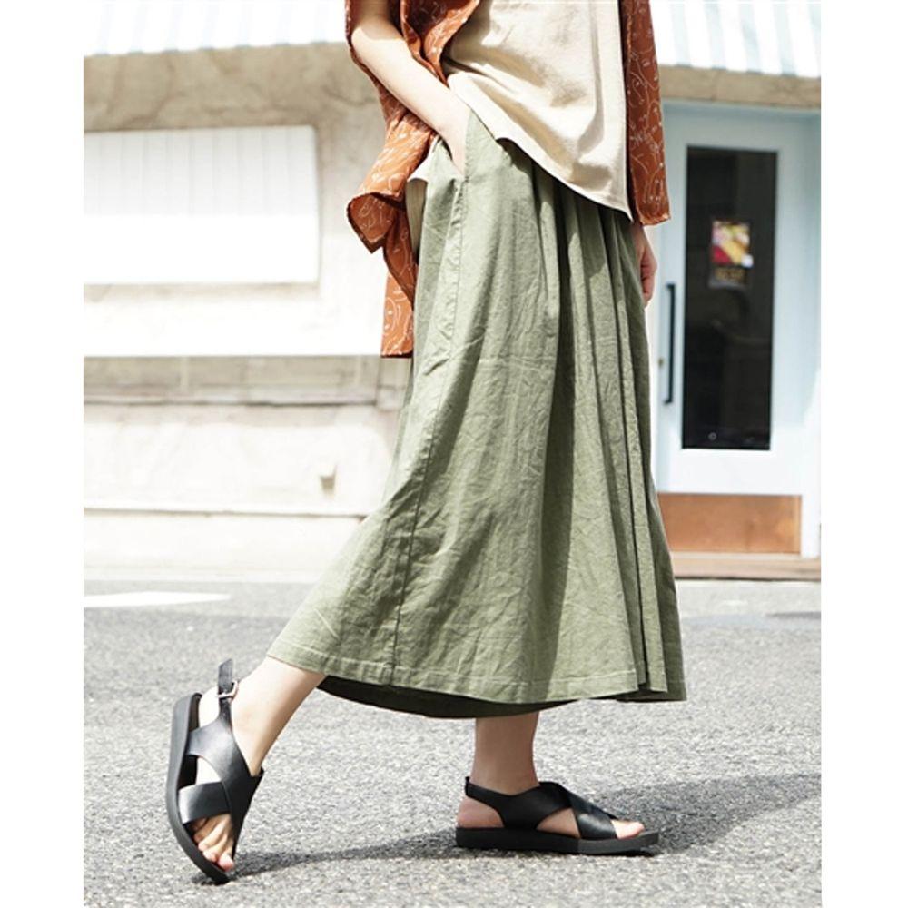 日本 zootie - 麻料舒適寬褲裙-墨綠