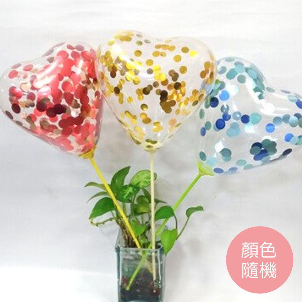 大倫氣球 - 6吋透明亮片心形氣球-顏色隨機-6吋透明心形氣球*6顆+6吋紅色心形氣球*3顆+哨子*1+6g亮片(紙花)+6支氣球棒