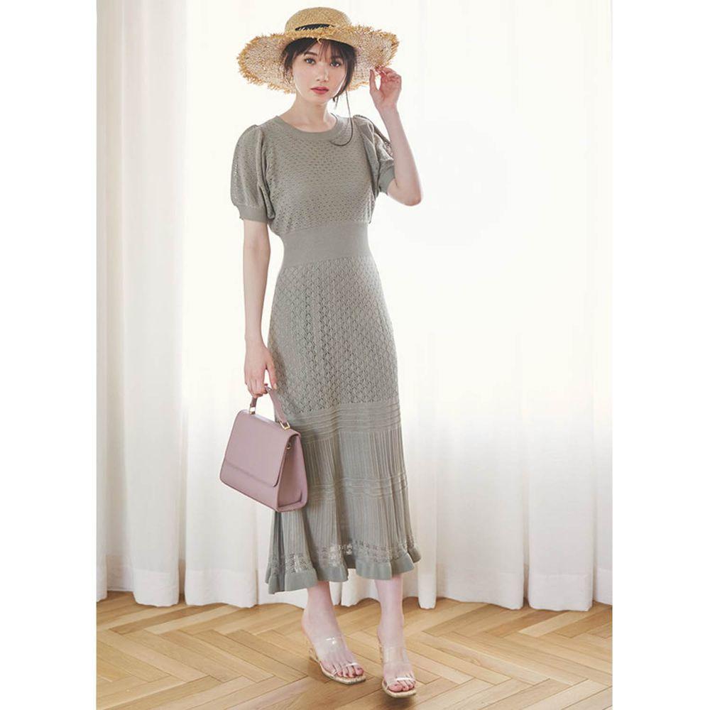 日本 GRL - 優雅針織鏤空雕花設計短袖洋裝(附背心襯裙)-莫蘭迪綠