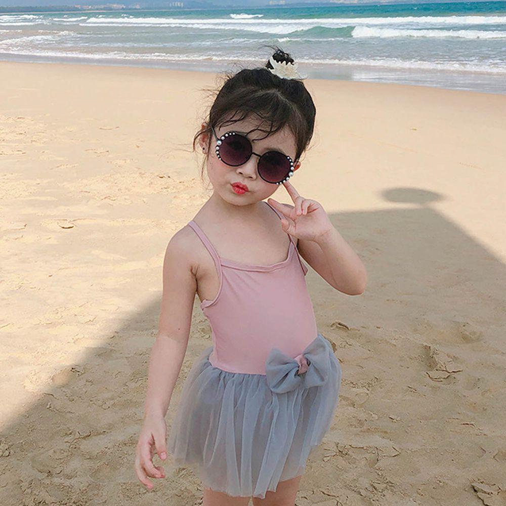 灰色網紗蝴蝶結兒童泳裝-粉色