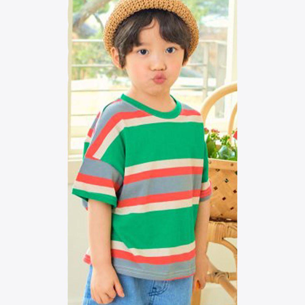 韓國 Hanab - 撞色線條相間純棉T
