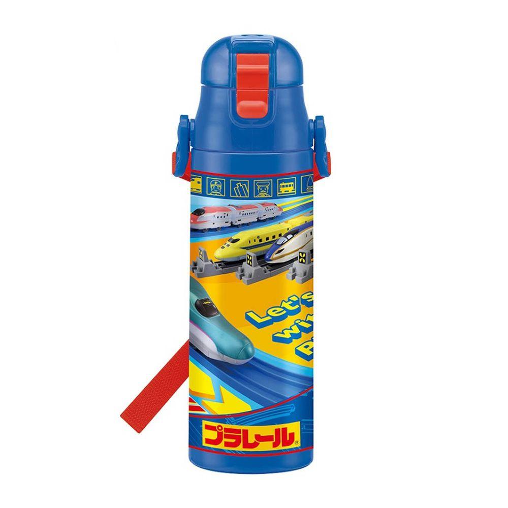 日本 SKATER - 兒童不鏽鋼(580ml)直飲保溫水壺-鐵道王國(藍)