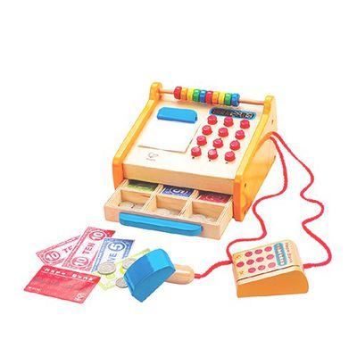 角色扮演系列-木製收銀機-包含紙鈔、硬幣、刷卡機、信用卡、掃描器