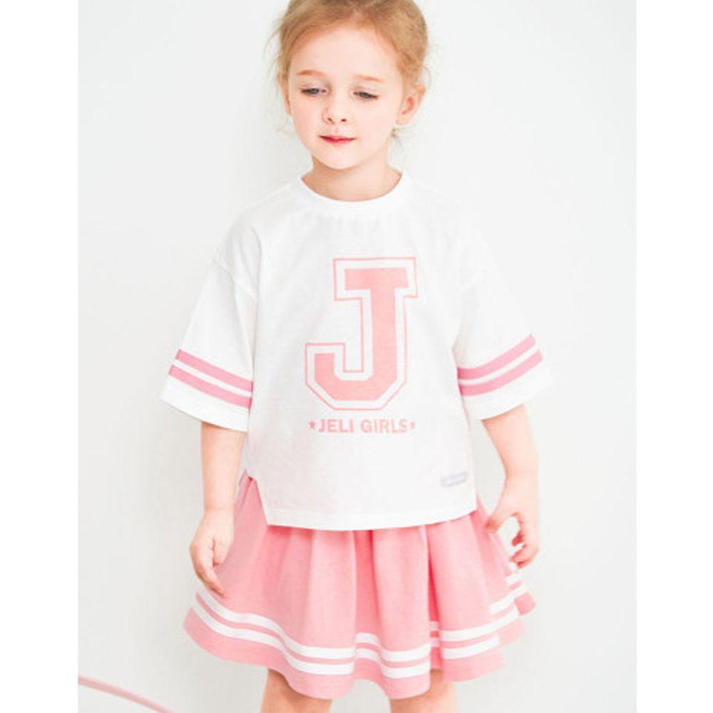韓國 Jelispoon - 網球少女套裝-白X粉紅