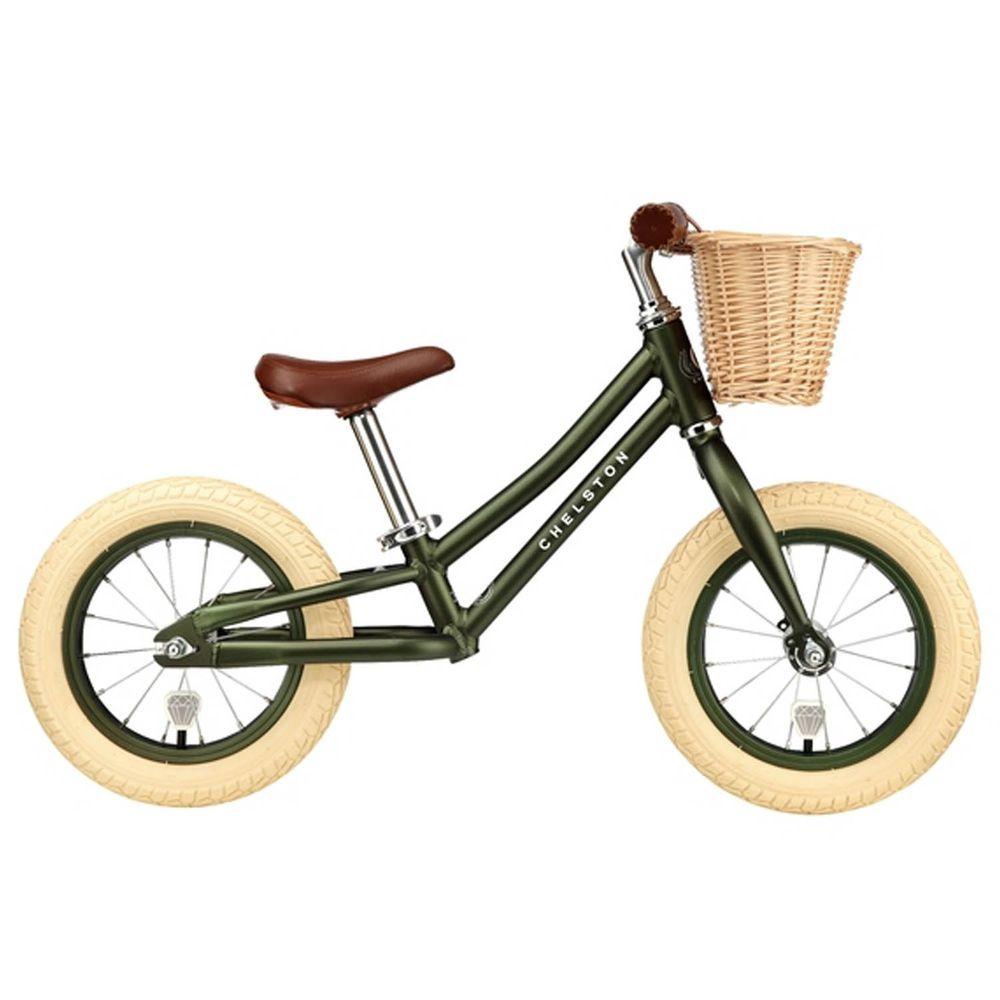 Chelston bikes - Mini Dutch 復古滑步車-橄欖綠-滑步車 x 1 , 手工編織竹籃 x 1 , 麻料內襯  x 1 , 3 歲以下專用ABS氣嘴蓋 x 1