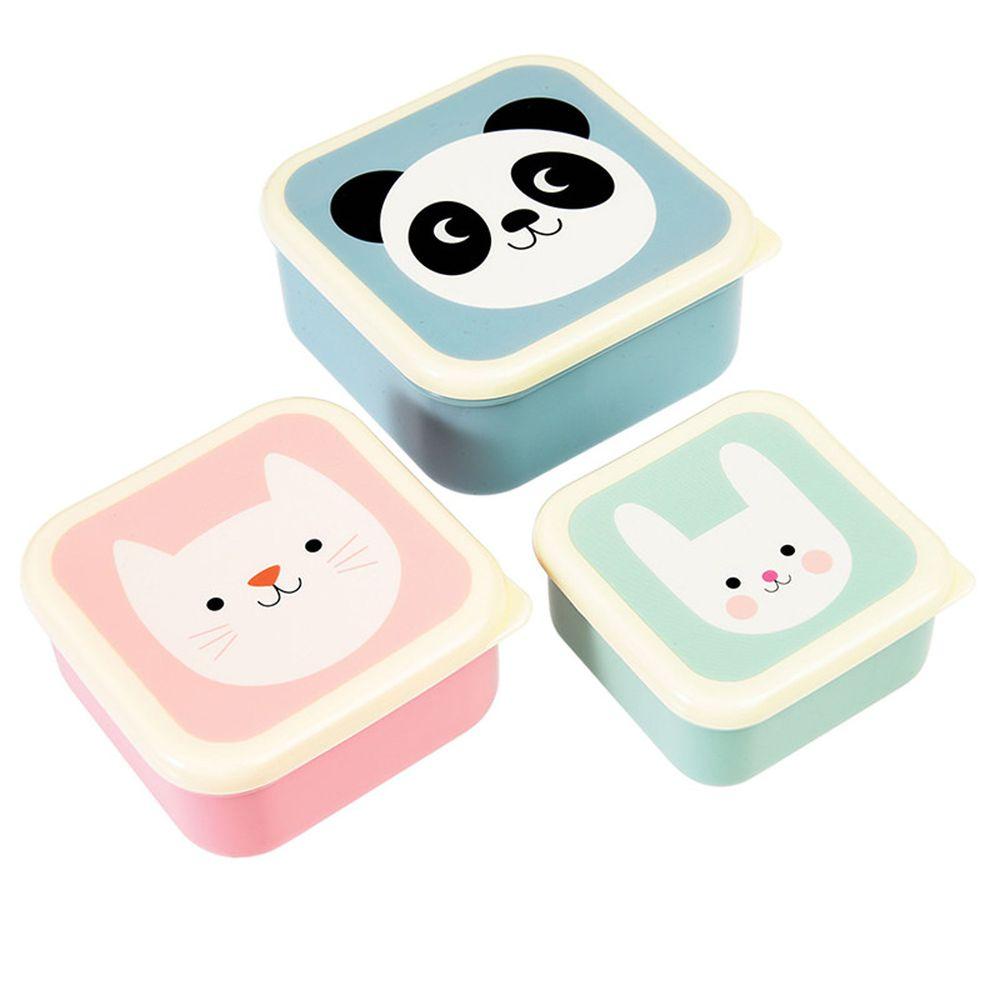 英國 Rex London - 餐盒/零食盒3入組-熊貓&朋友