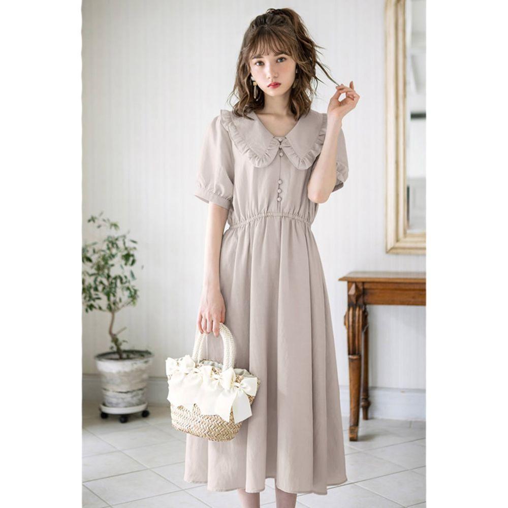 日本 GRL - 復古圓領古典風短袖洋裝-淺灰杏 (M)