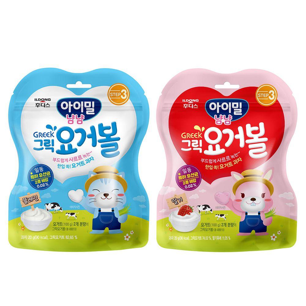 韓國Ildong Foodis日東 - 優格愛心餅2入組-原味*1+草莓*1