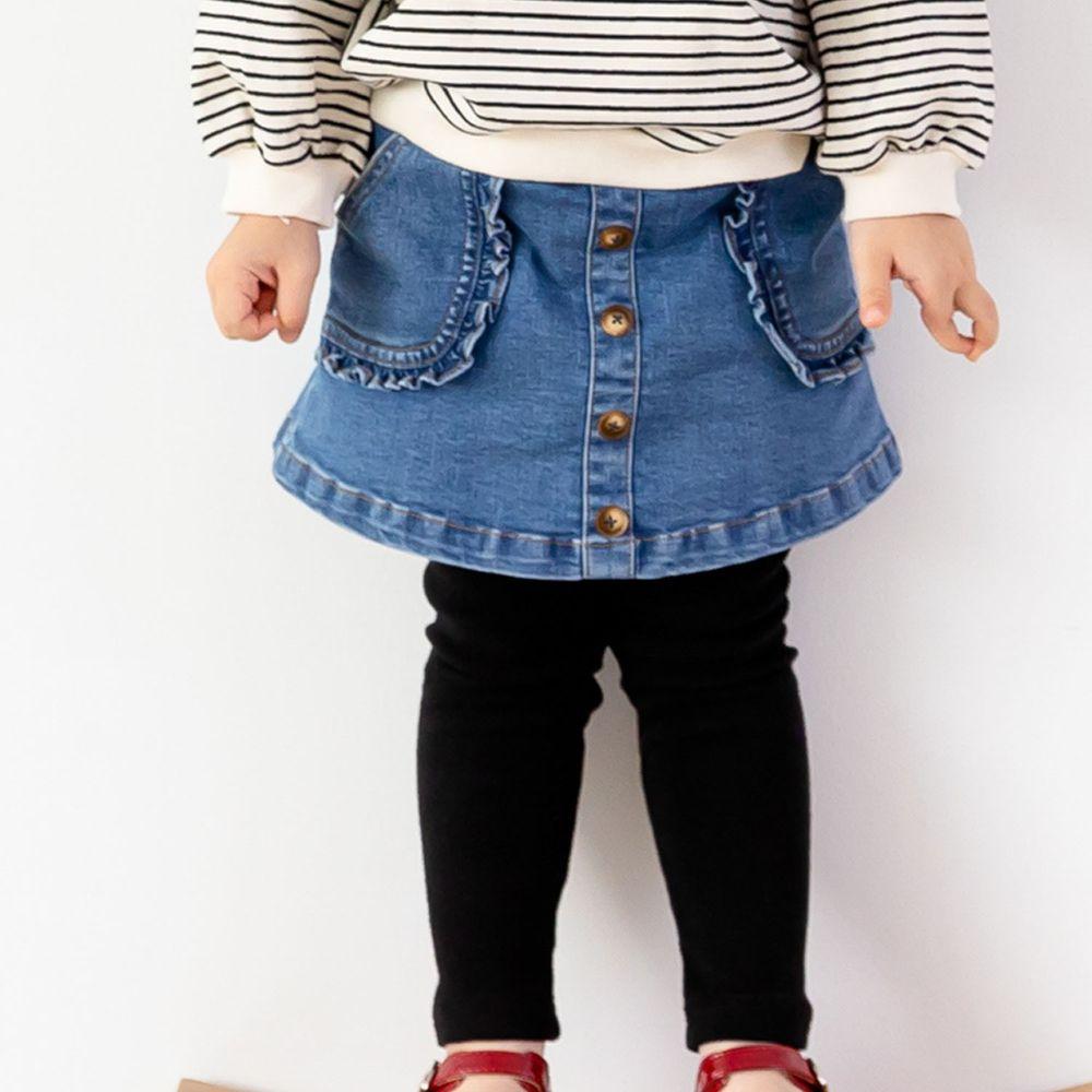 韓國 ERU - 荷葉裝飾口袋單寧褲裙
