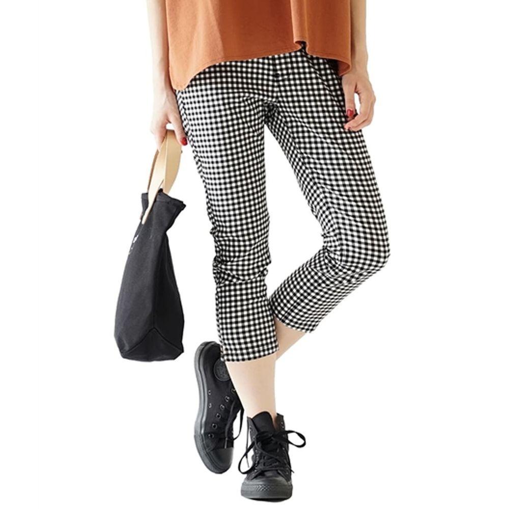 日本 zootie - Air Pants 輕薄彈性修身七分褲-黑白格子