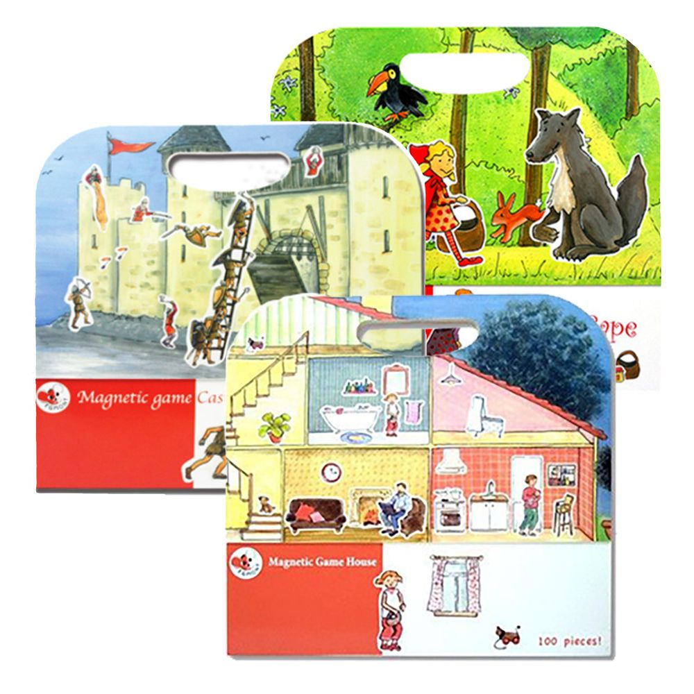 比利時艾格蒙 - 甜美公主繪本組-可愛家庭故事屋+守護快樂城堡+小紅帽-25x24x1 cm