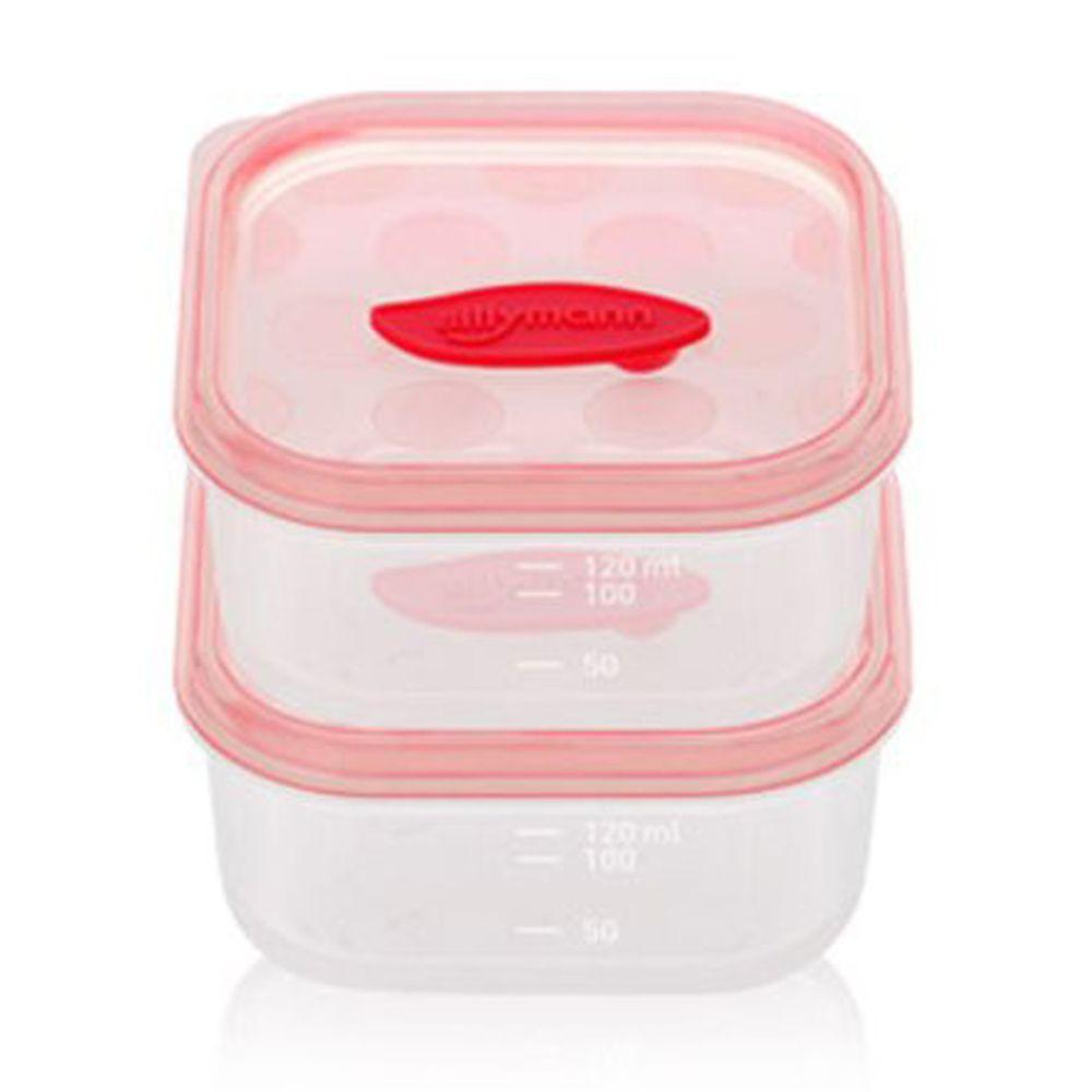 韓國 sillymann - 100%鉑金矽膠副食品保鮮盒-120ml(2入裝)-粉色-120ml