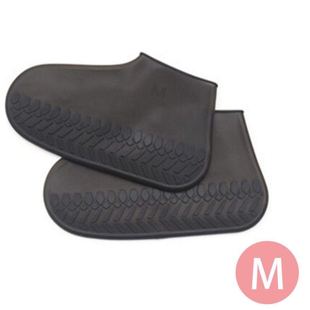 日本代購 - 防水矽膠鞋套(附收納袋)-清透黑 (M(22.5-25cm))