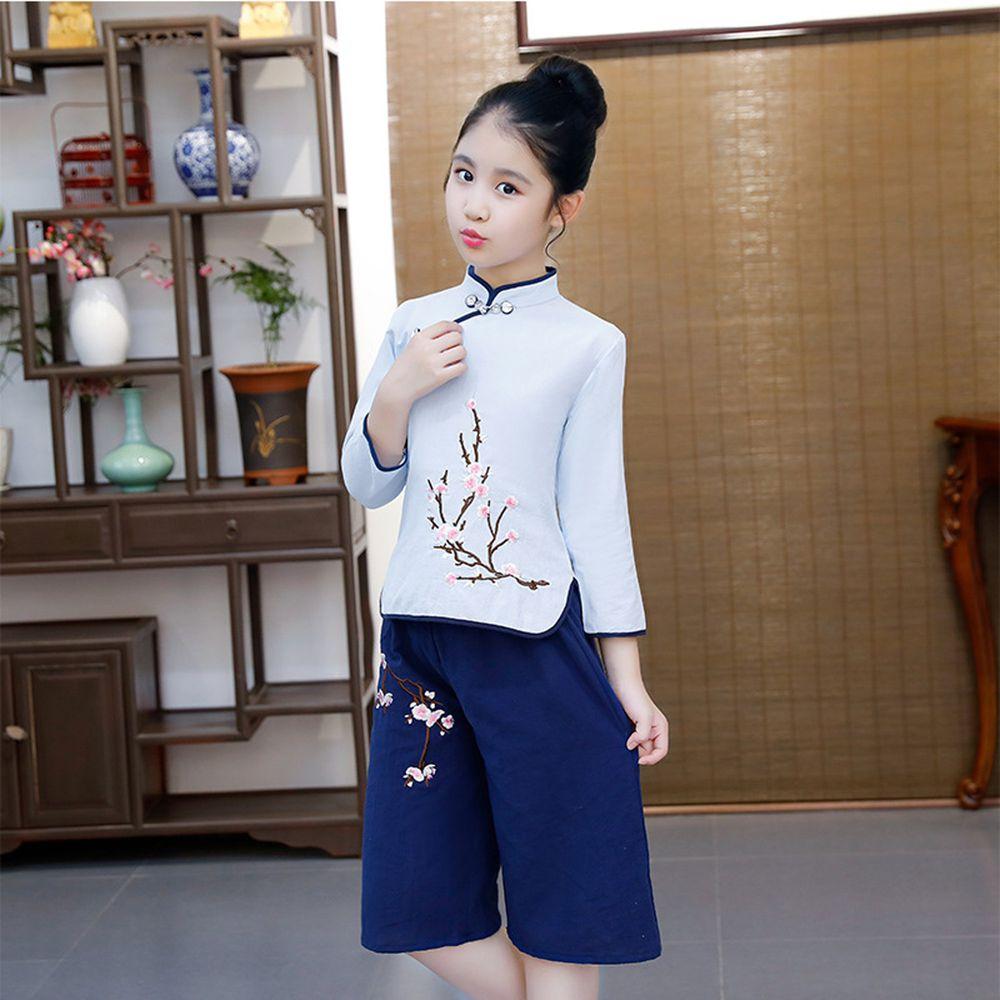 花鳥民國風寬褲唐裝-上衣+褲子-淺藍
