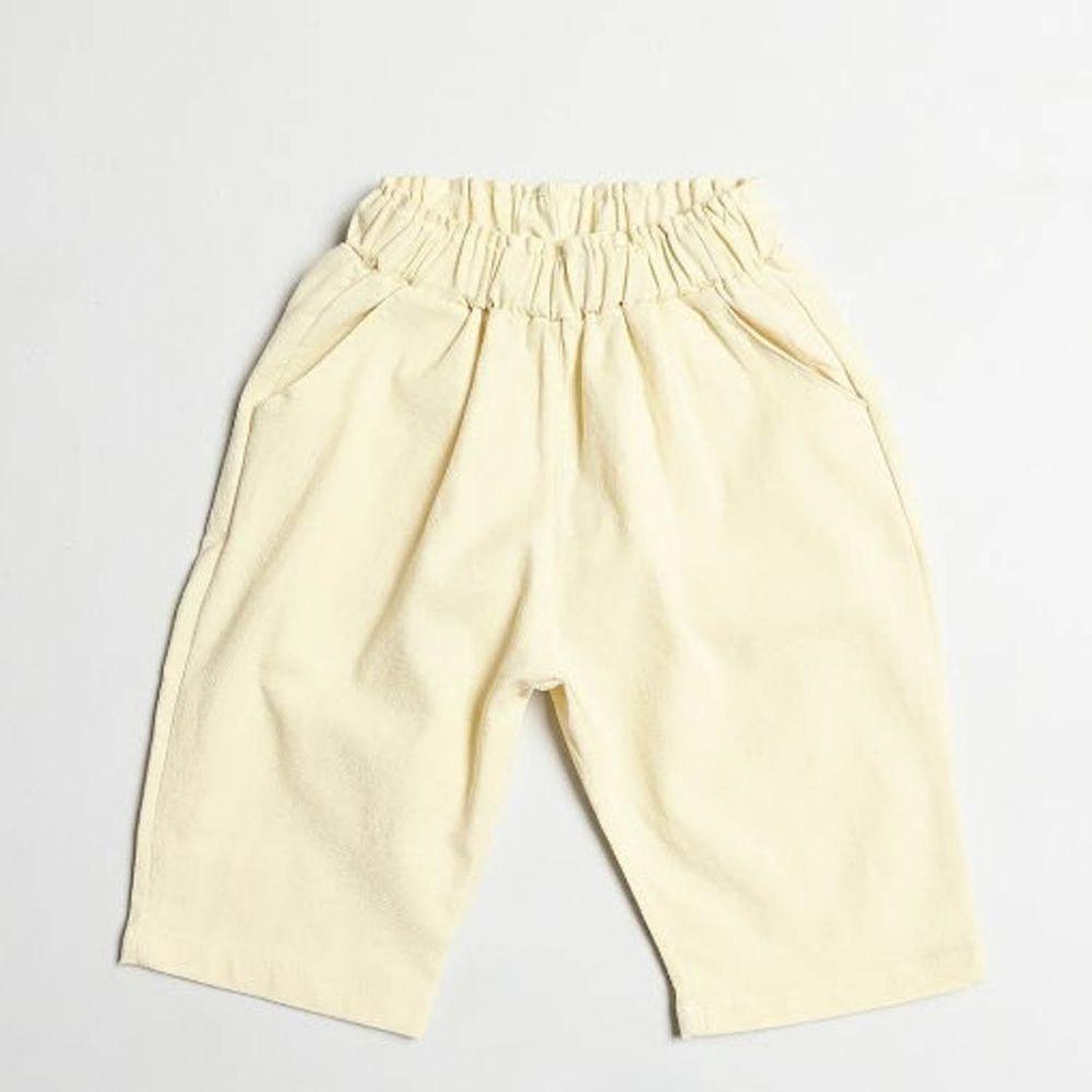 韓國製 - 棉麻7分哈倫褲-鵝黃